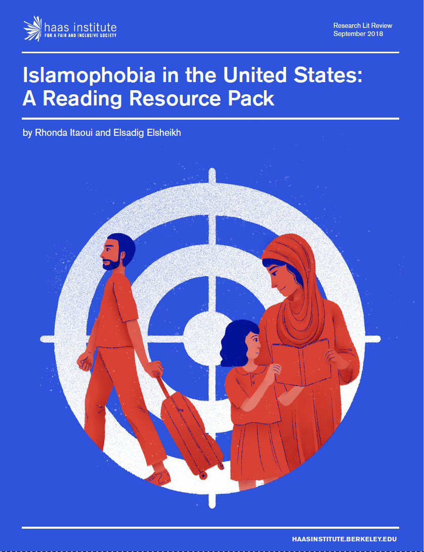 Image showing the cover of a report with a graphic illustration of a veiled woman with her young child, and a man and walking with a suitcase, inside a big target