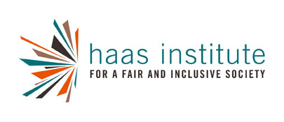 The symbol of the Haas Institute for a Fair and Inclusive Society with a logo that has colorful shards or rays emanating