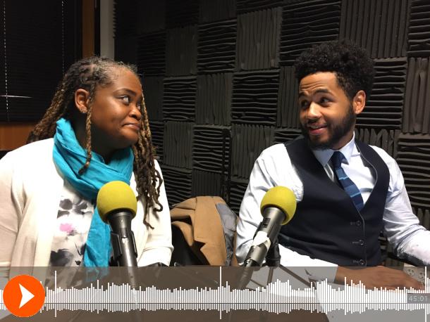 Photo of Erika Washington (left) and Quentin Savwoir (right) inside a recording room