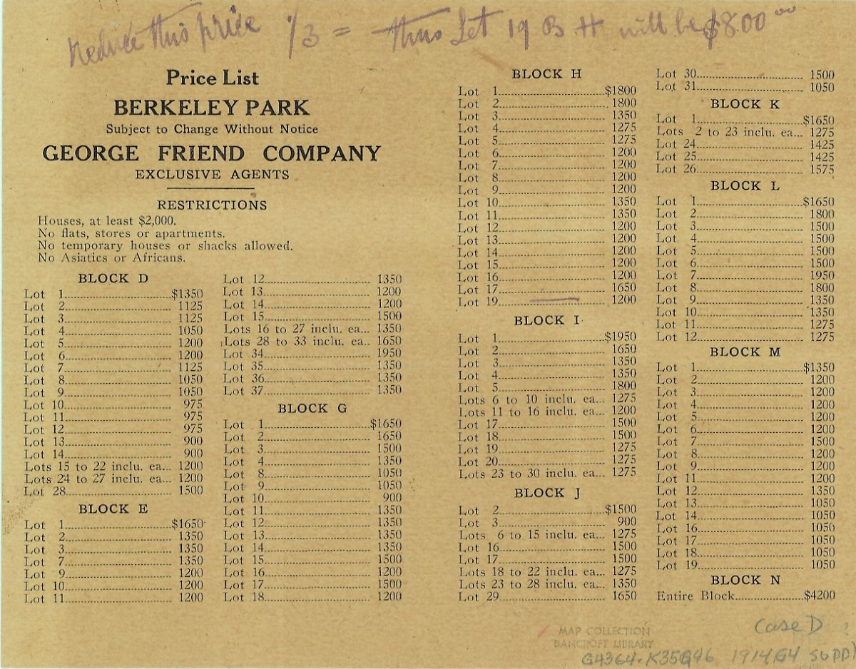 """Historical document showing price list for the Berkeley park subdivision in Kensington, which included a restriction against """"Asiatics or Africans"""""""