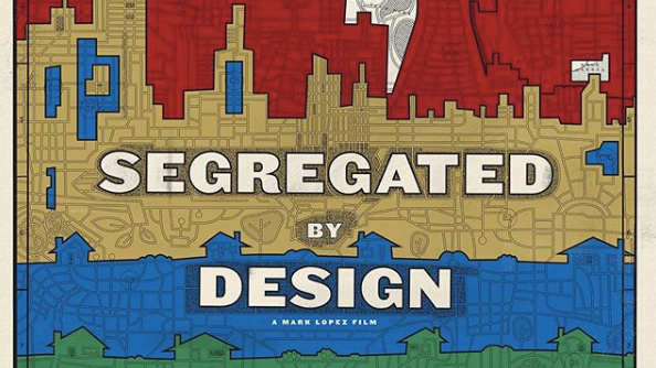 Segregated by Design film cover art with red, yellow, blue and green, illustrated cityscape