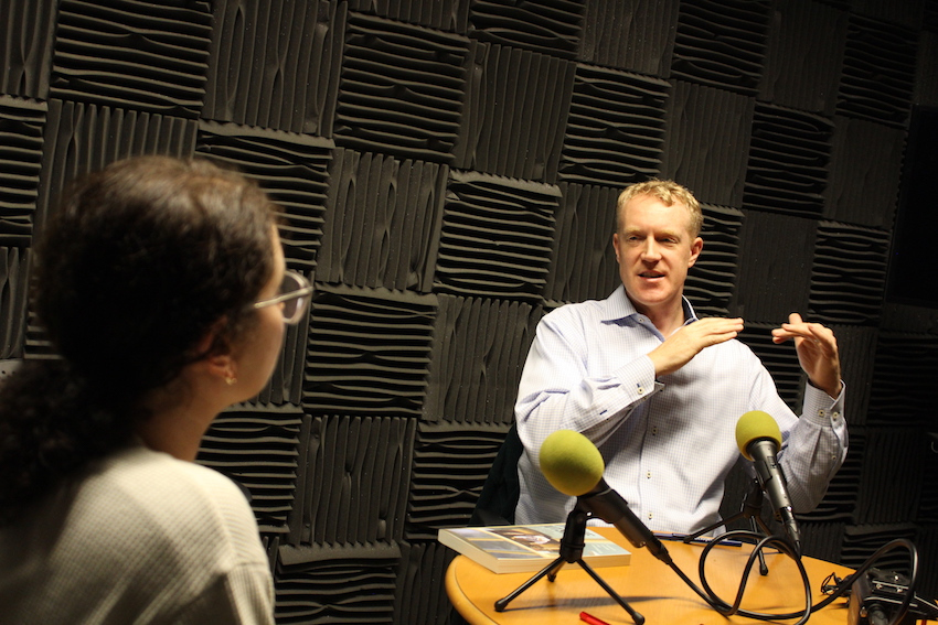 Prof David Harding in the recording room with podcast host David Harding