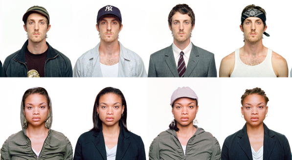 Our Kind of People Series by Bayete Ross Smith. Photo of the same white man and the same Black woman dressed in different outfits to offer different visual perceptions that evoke sterotypes.