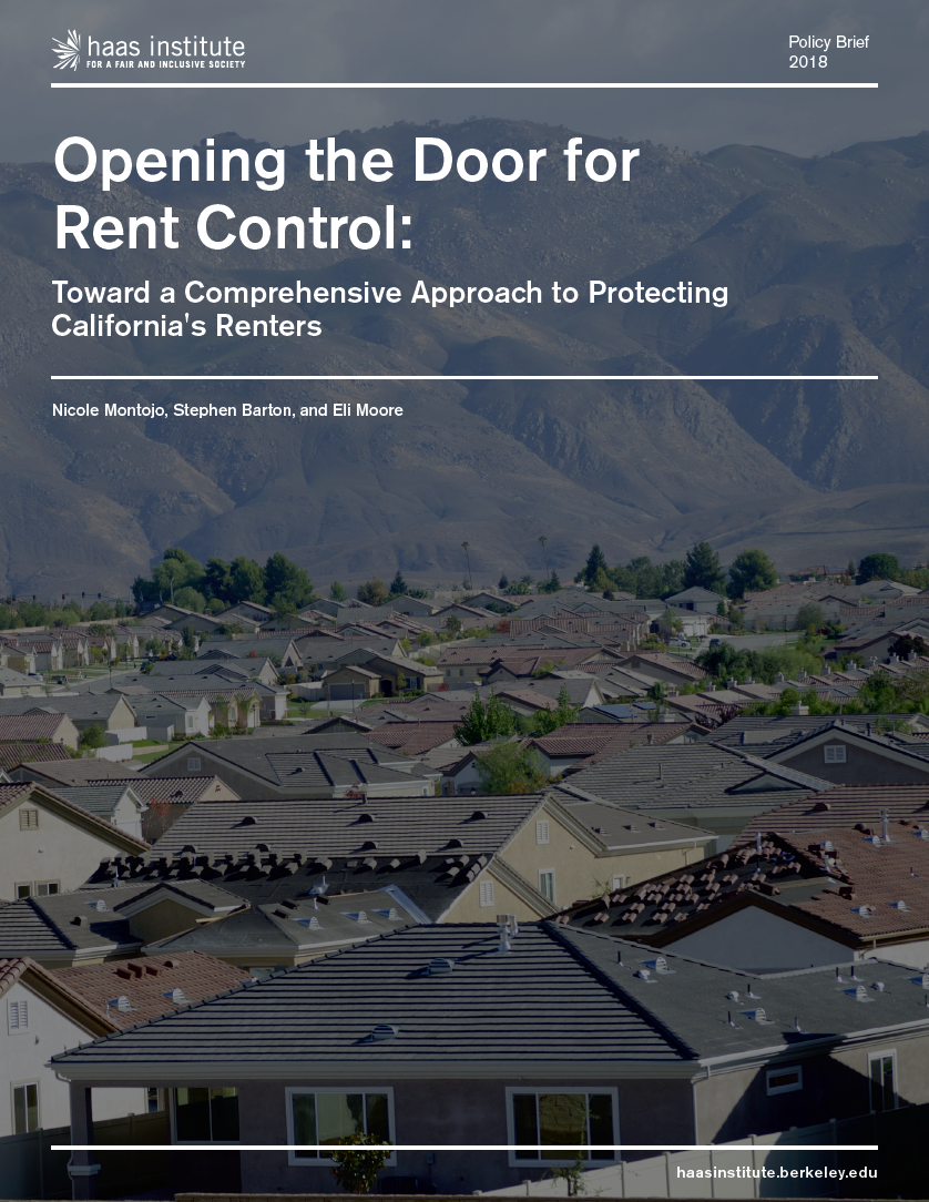 Cover of report: Opening the Door for Rent Control, which shows landscape image of houses set against California mountain range