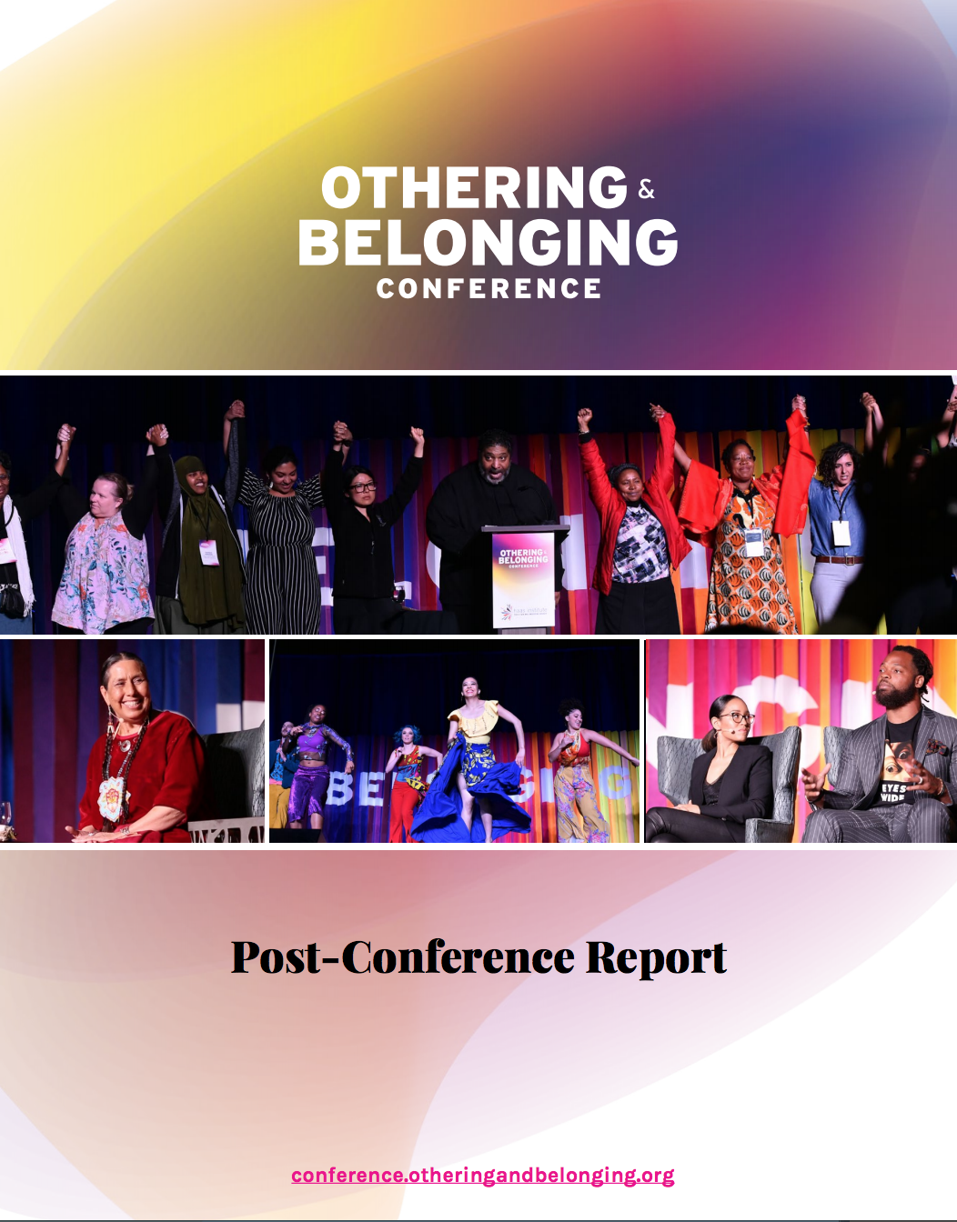 """Cover image of a report entitled """"Othering & Belonging Post Conference Report"""""""