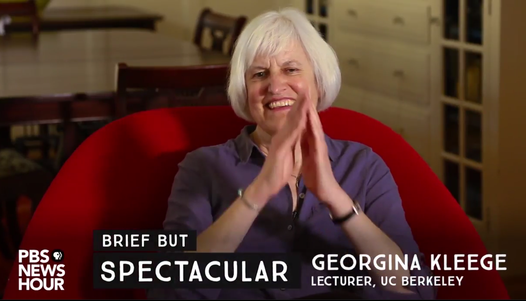 Image grab from PBS interview showing Georgina Kleege