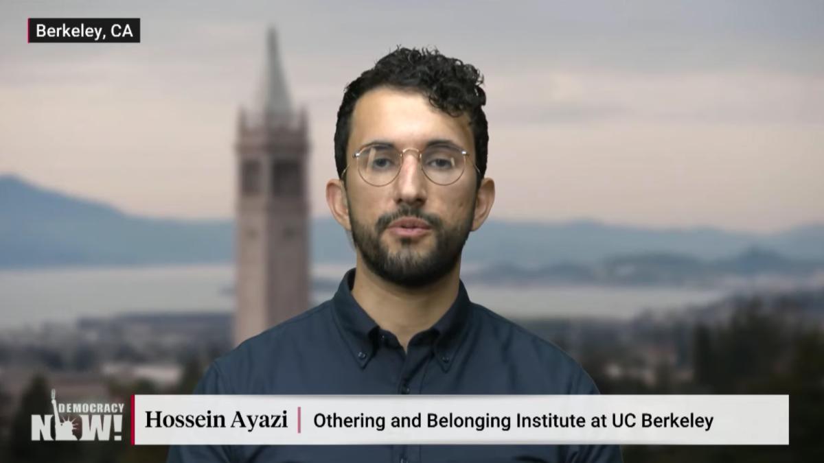 Image grab shows researcher Hossein Ayazi being interviewed on DemocracyNow!