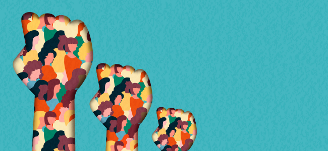 Colorful fists in front of bright turquoise background