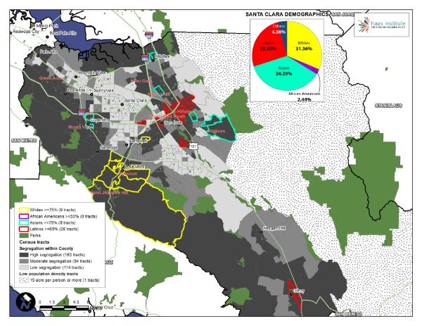 A sample of a segregation map for Santa Clara County