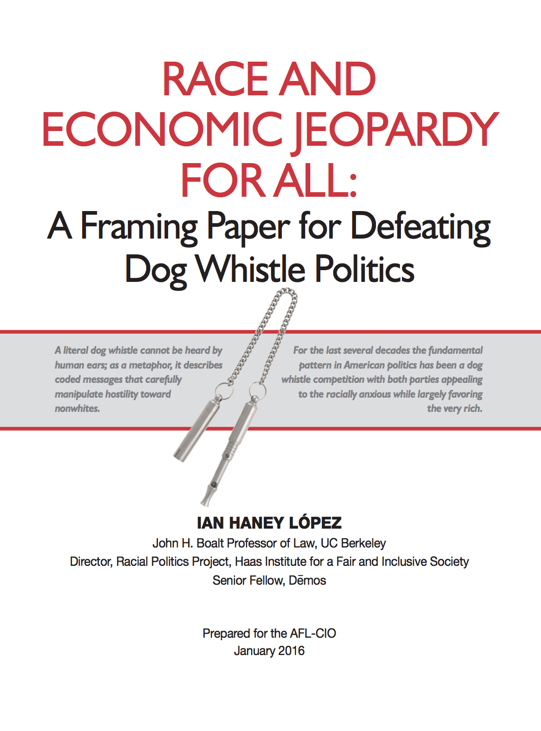 Race and Economic Jeopardy report cover
