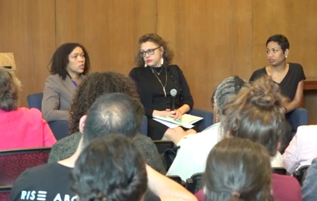 Panel discussions with Tina Sacks and Dawn Marie Dow, brown background