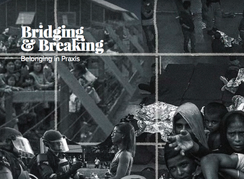 Cover of Bridging & Breaking curriculum, black and white collage