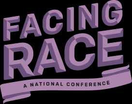 Facing Race Logo in Purple on a Black background