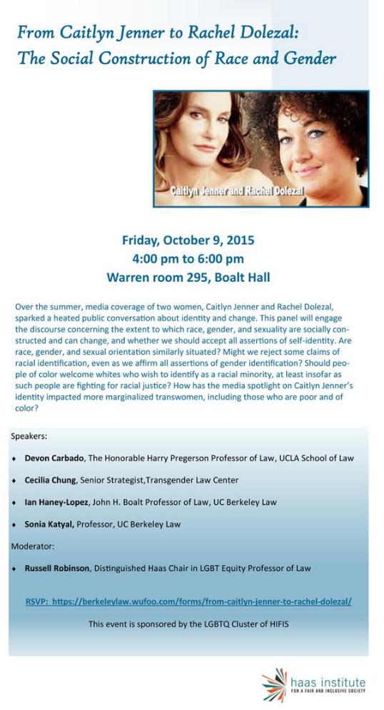 Flyer for Social Construction of Race & Gender Event