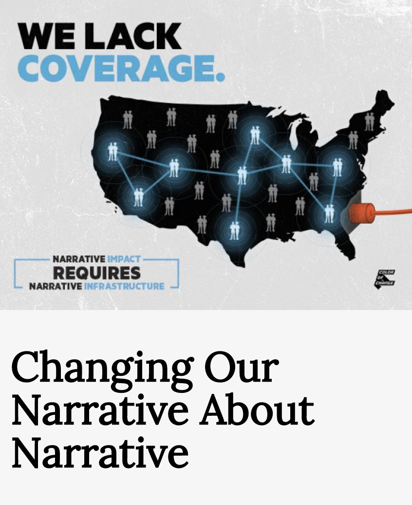 """An image showing a black illustrated map of the US that says """"We Lack Coverage"""""""