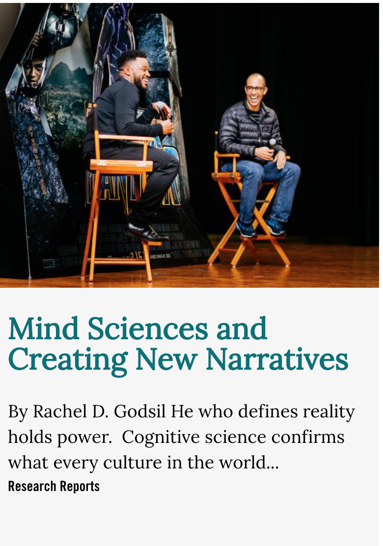 Image for Mind Sciences story showing two men sitting in a chair on stage talking
