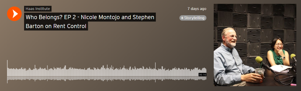 An image grab from soundcloud shows a play bar for the rent control episode of Who Belongs?