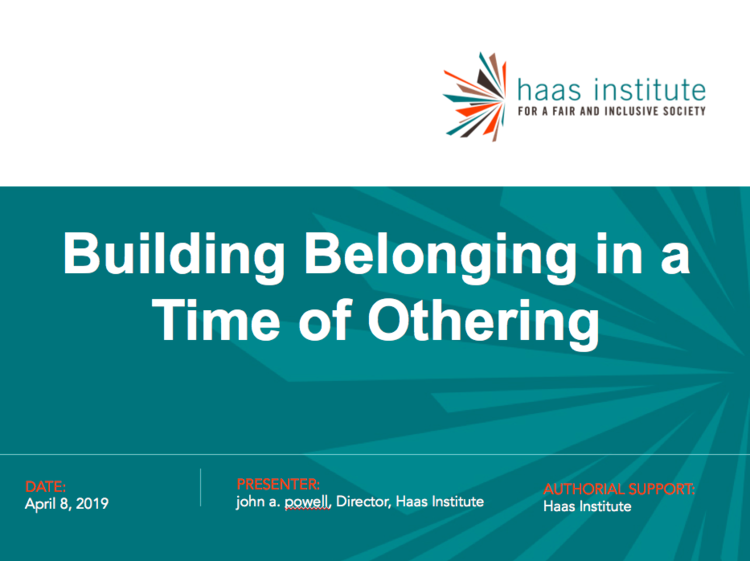 Cover of Building Belonging in a Time of Othering presentation