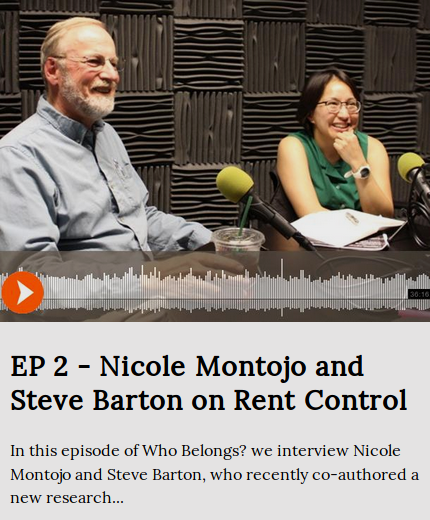 Steve Barton and Nicole Monto smile in a recording room after an interview about their rent control paper
