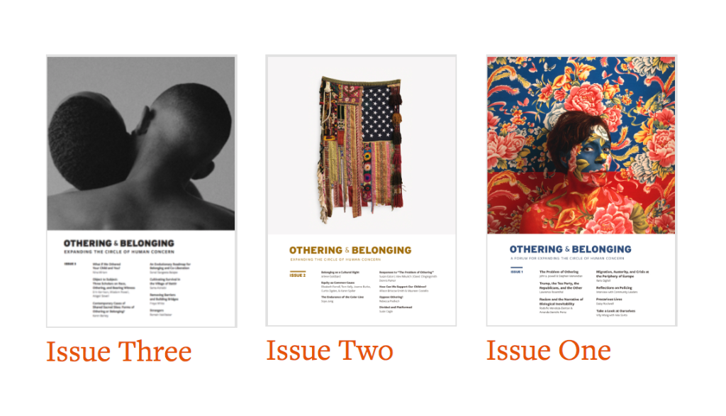Image shows three covers of the Journal of Othering & Belonging