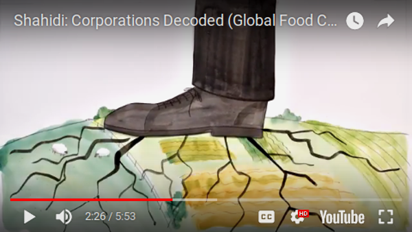 An image grab from an explainer video about the shahidi project shows a giant cartton boot crushing a farm