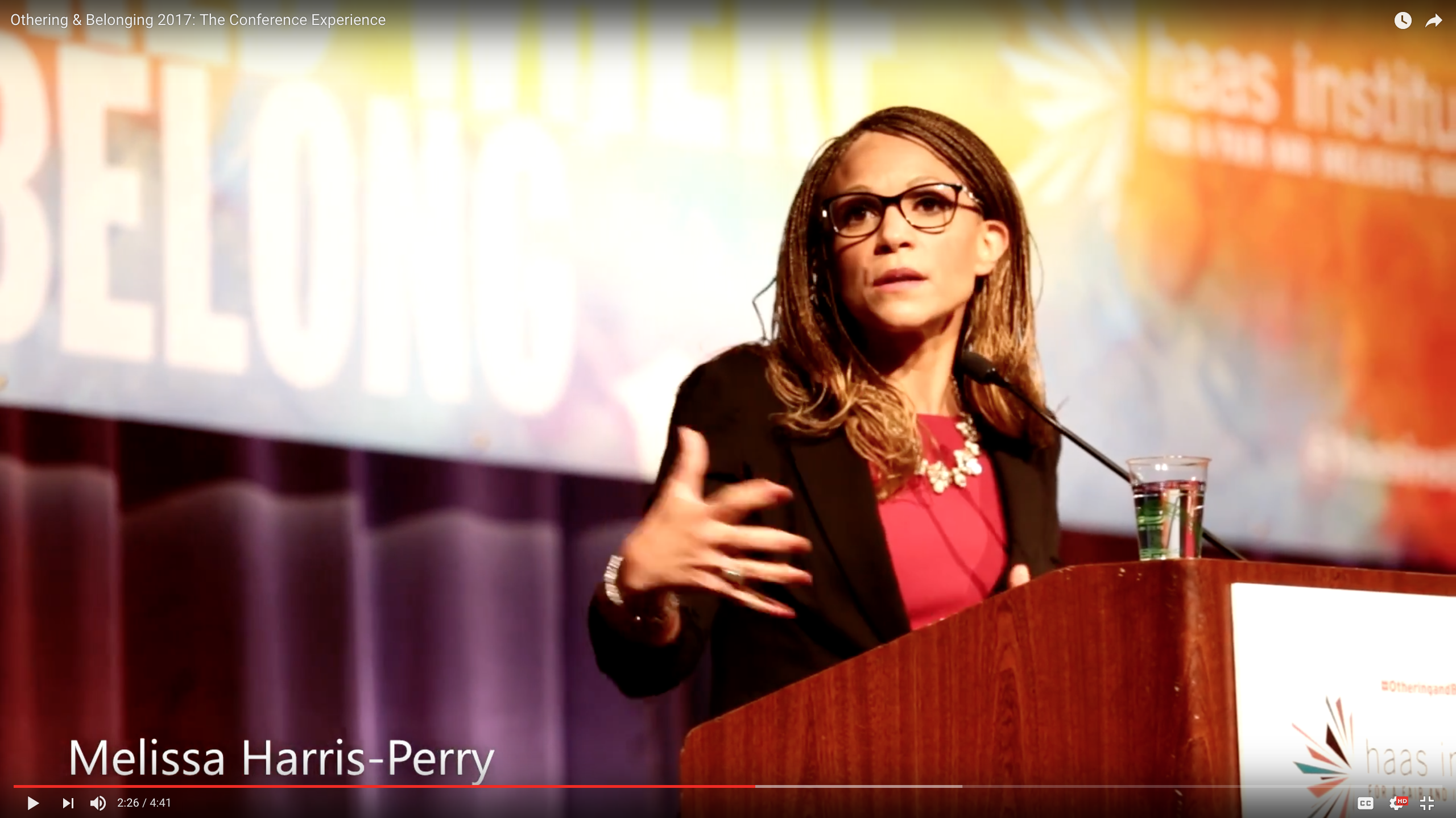 Video screenshot of Othering & Belonging conference showing Melissa Harris-Perry talking