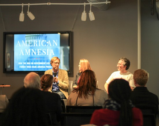 """Left to right: Paul Pierson, Jessica Bartholow, Mark Gomez in front of an audience at """"Thinking Ahead with Paul Pierson"""" Photo Credit: Lauren Ahn"""