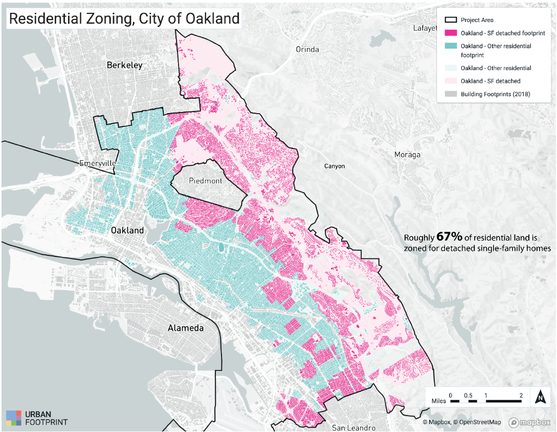 Residential zoning map of the city of oakland, showing areas with single family zoning