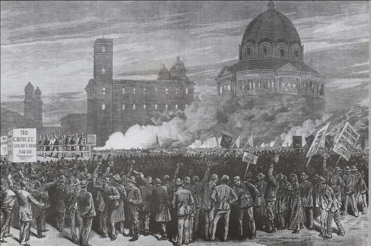 Illustrated image of anti-Chinese riot in front of SF city hall in 1877