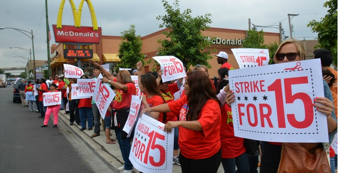 Workers strike for $15  - via Flickr Creative Commons