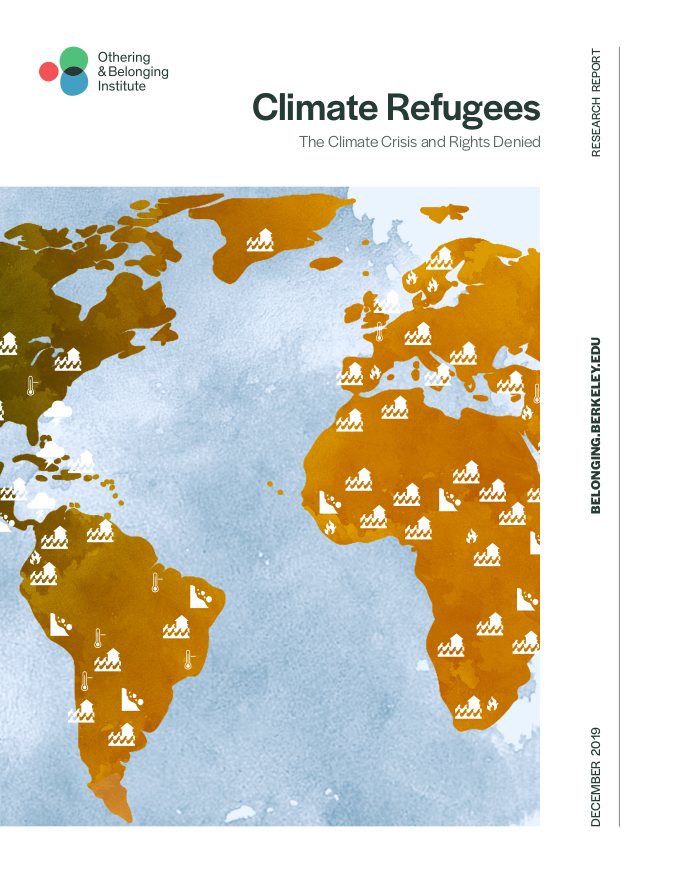 Cover of the climate refugee report showing an illustration of the planet