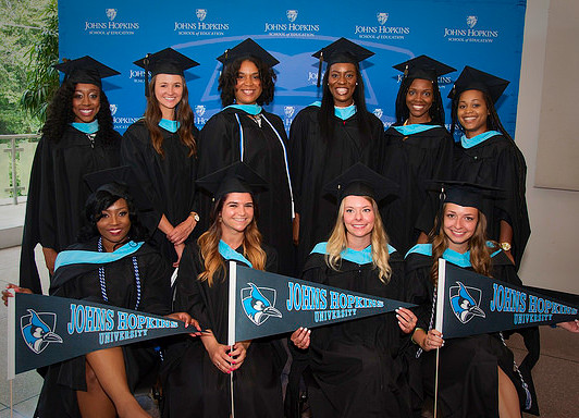School Counseling Fellows graduated on July 23 in the Glass Pavilion on the Homewood campus. They are, standing, Leondra Graves, Gabriella Arizola, Imani Ladson, Vanessa Lewis, Sarah Lauture and Jasmine Quander, and sitting, Blessing Ukpong, Nicole Kay, Emily Rosen and Gabrille Milano.