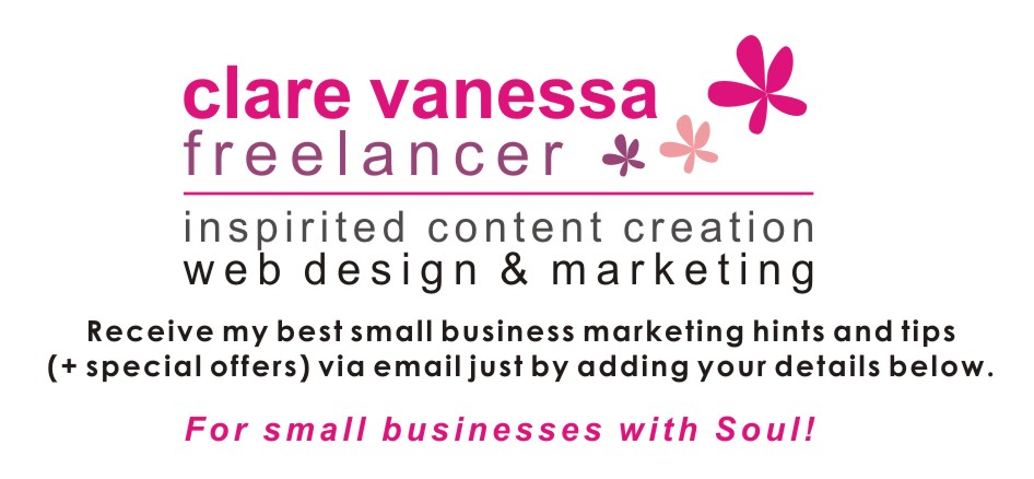 Landing Page - Clare Vanessa Freelancer's Small Business Marketing list.