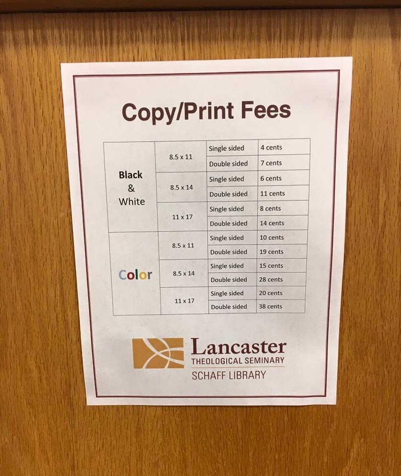 copy and print fee chart