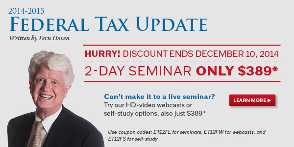 Federal Tax Update Only $389