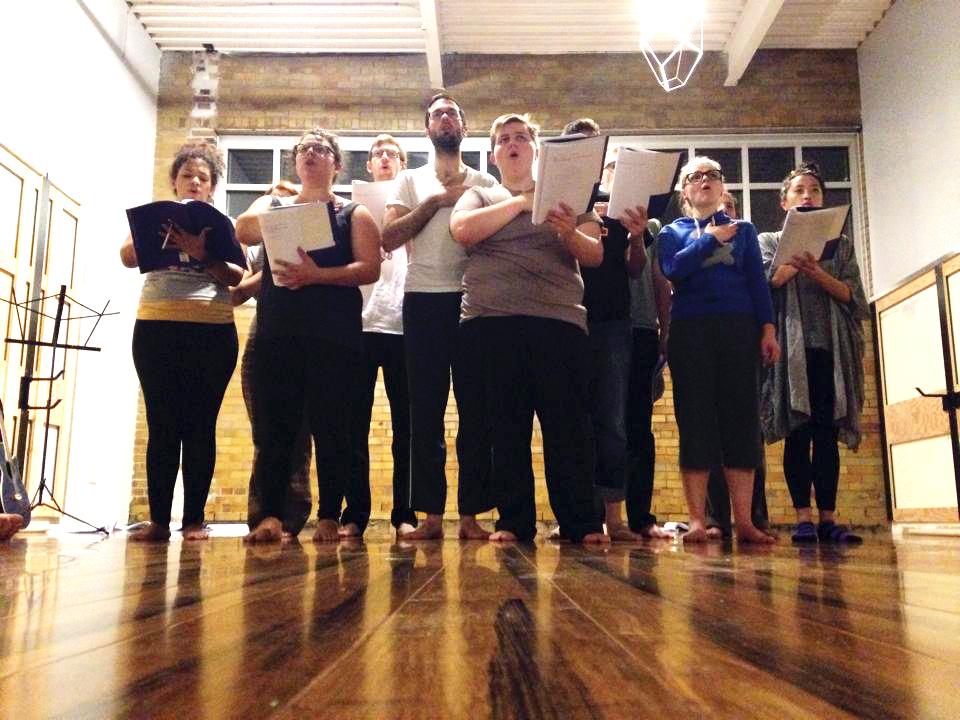 Vinland Workshop Presentation (September 2014), Ensemble in rehearsal of the work-in-progress. Photo credit: Hannah K. Holman