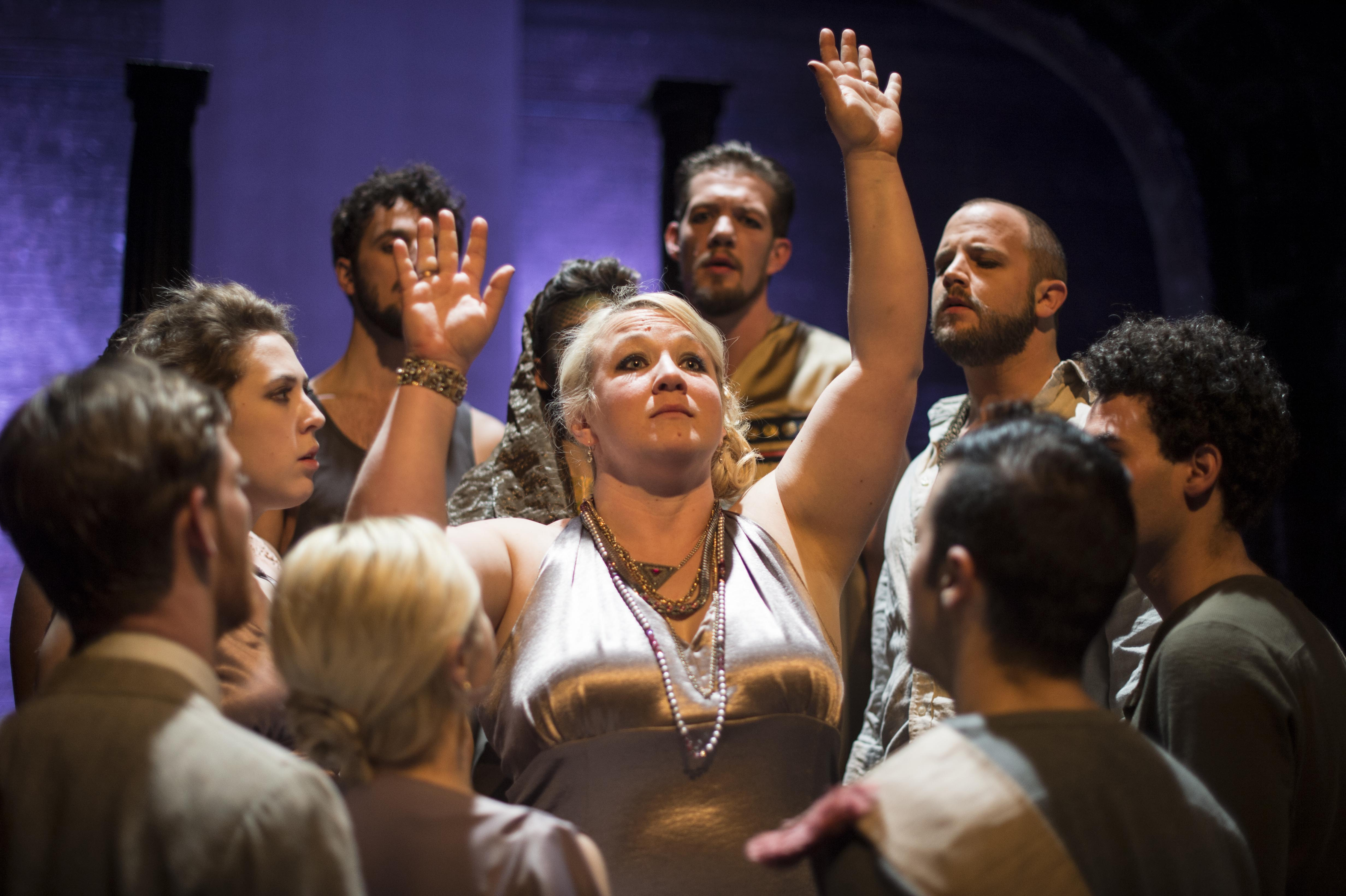These Are the Men (March/April 2015), Hannah K. Holman as Pythia, flanked by ensemble members Foster Johns and Siddeeqah Shabazz. Photo credit: Carl Atiya Swanson