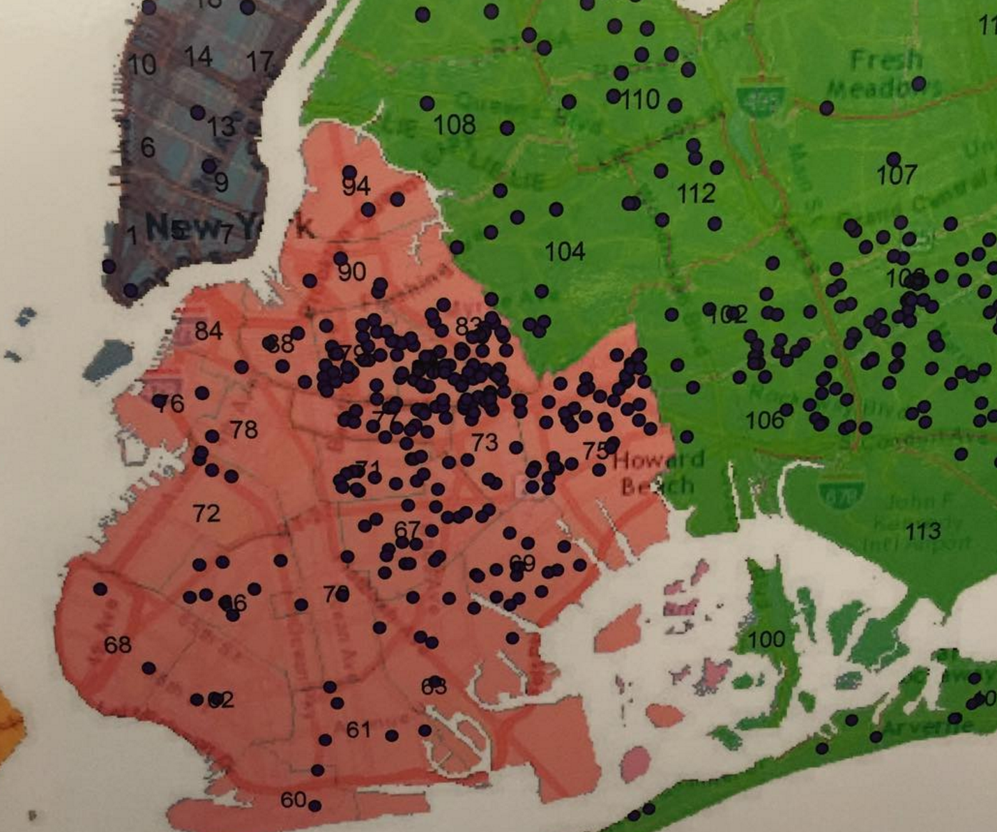 Map of NYC with dots representing cases of deed fraud