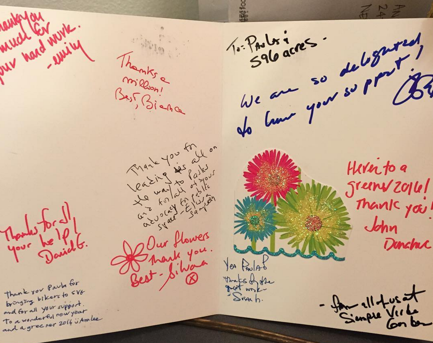 Thank you card for 596 Acres and Paula Z. Segal