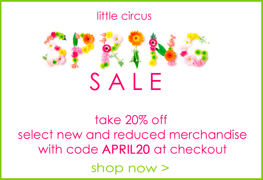 """Two day only Spring Sale. Take 20% off select sale and regular priced items. Use code """"APRIL20"""" at checkout. Discount will only be applied to items in this section."""