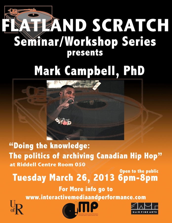 Poster for Mark Campbell's upcoming workshop/talk.