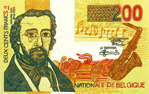 Image of Adolphe Sax on Belgian Money
