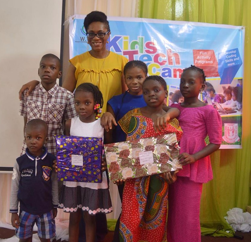 Students from the W.TEC Kids Tech Camp with Oreoluwa Lesi