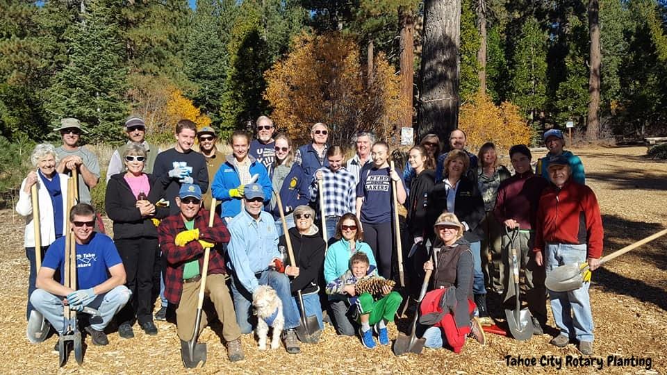 Tahoe City Rotary Planting Volunteers
