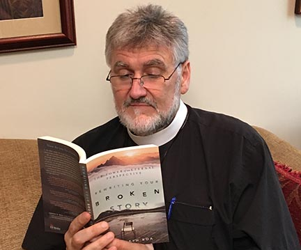 "The Rev. Dr. Greg Snyder reading ""Rewriting your broken stories"""