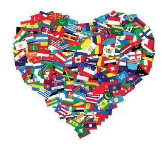 Heart with flags of nations
