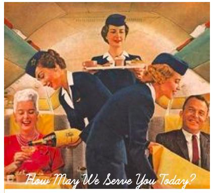 Flight attendants serve airplane passengers
