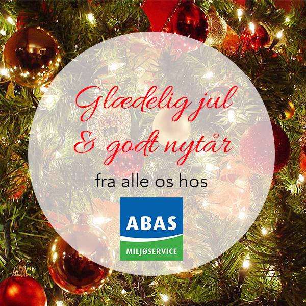 Julekort: Glædelig jul og godt nytår fra alle os hos ABAS Miljøservice