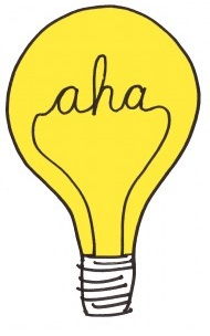 lightbulb with filament spelling aha