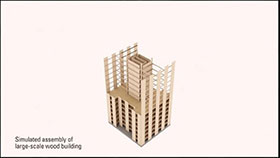 Simulated assembly of large-scale wood building